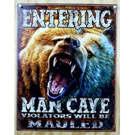 Entering Man Cave Tin Metal Sign Garage Game Room Fathers Day Hunting Bear B22