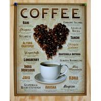 Coffee Beans Tin Metal Sign Java Kona Bani Mocha Bugisu Arusha Chiapas Bistro B93