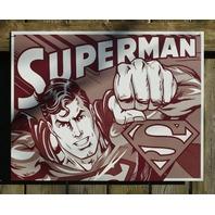 Superman DC Comics Tin Metal Sign Comic Book Superhero Man of Steel Garage