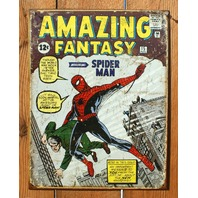 Amazing Spiderman Tin Sign Fantasy Marvel Comics Comic Books Vintage Style Hero