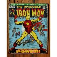 The Invincible Iron Man Tin Sign Marvel Comics Group Comic Book Tony Stark