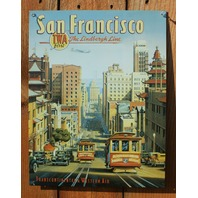 San Francisco TWA Airline Tin Sign California Giants 49ers Trolley Airplane E108