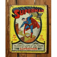 Superman Tin Sign DC Comic Book Classic Vintage Style Super Hero Clark Kent  D51
