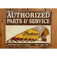 Indian Motorcycle Company Parts & Service Tin Sign Iowa Chief Head Dress