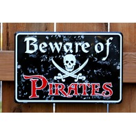 Beware of Pirates Tin Sign Skull and Cross Bones Man Cave Bar Halloween F7