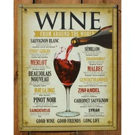 Wine From Around The World Tin Sign Good Wine Friends Good Life Merlot Syrah F71