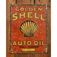Golden Shell Auto Oil Tin Sign Gas & Oil Petroleum Standard Chevron Petro E100