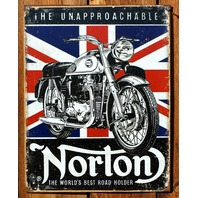 Norton Motorcycle Tin Sign Cafe Racer Sportster Manx 500 cc Atlas Union Jack