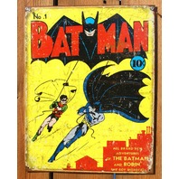 Batman No. 1 Tin Sign Robin Detective Comics DC Comic Book Vintage Style D49