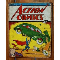Action Comics Superman No. 1 Tin Sign Detective Comics DC Comic Book Hero D39