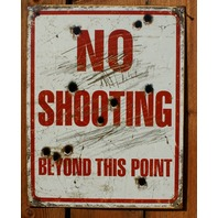 No Shooting Beyond This Point Tin Sign Shooting Range Gun Rights Country F96