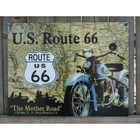 US Route 66 Mother Road Indian Motorcycle Tin Sign Man Cave Garage Bike