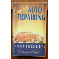 Quality Auto Repairing Wadsworth Oil Company Tin Sign Mechanic Garage Car F4