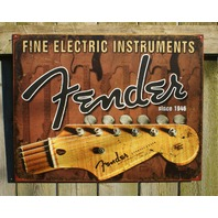 Fender Headstock Tin metal Sign Studio Strat Stratocaster Guitar Bass Music