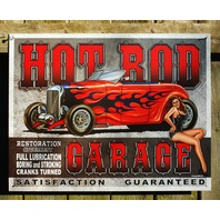Hot Rod Garage Tin Sign Garage Man Cave Pin Up Girl street Roadster Rat Racer