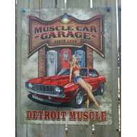 Muscle Car Garage Tin Sign Man Cave Garage Camaro Gas Pump Pin Up Girl Rod