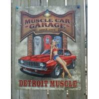 Muscle Car Garage Tin Sign Man Cave Garage Camaro Gas Pump Pin Up Girl Rod