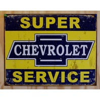 Chevrolet Super Services Tin Sign Chevy Corvette Camaro Silverado Garage E113