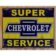 Chevrolet Super Services Tin Sign Chevy Corvette Camaro Silverado Garage E113