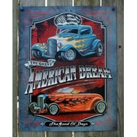 American Dream Tin Sign Man Cave Garage Hot Rod Muscle Car Rat Rod V8 Drag