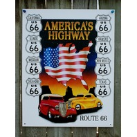 Route 66 America's Highway Tin Sign Hot Rod ManCave Garage Texas Arizona Cal