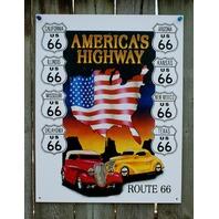 Route 66 America's Highway Tin Sign Hot Rod ManCave Garage Texas Arizona Cal