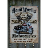 Road Works World Class Motorcycle Engine Builders Tin Sign Man Cave Garage