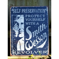 Smith & Wesson Tin Metal Sign Man Cave Gun Revolver Pistol Security