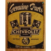 Chevrolet Genuine Parts Tin Sign Chevy Camaro Piston Corvette 350 454 V8 F77