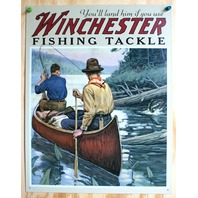 Winchester Fishing Supplies Tin Sign Angler Fish Bass Canoe Game Outdoors