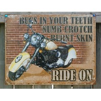 Ride On Indian Motorcycle Tin Sign Man Cave Garage Bike Saddle Bags Road Hog