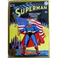 DC Action Comics Superman no 24 golden Tin Sign Classic Embossed Collectible D32