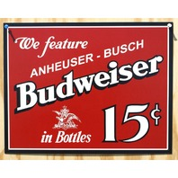 Budweiser Anheuser Busch Tin Sign Man Cave Garage Bar Beer Alcohol Bud Lite