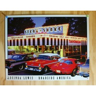 Lewis Steak N Shake Roadside America Tin Sign Chevy Corvette Bel Air Car Hop F58