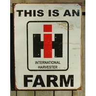 International Harvester Tin Metal Sign Garage Tractor Farm Country IH Case E17