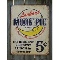 Lookout Moon Pie Ad Tin Sign Garage Vintage Style Home Country Kitchen Decor F36