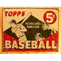 1955 Topps Wax Pack Baseball Cards Tin Sign MLB Dodgers Cardinals Yankees E131