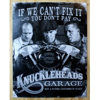 3 Stooges Knucklehead Motorcycles Tin Sign Stooge Approve Biker Humor Comedy E37