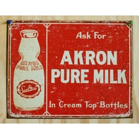 Akron Pure Milk Cream Top Bottles Tin Sign Country Kitchen Home Farm Ad E38