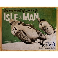 Norton Motorcycle Isle of Man Tin Sign HD Bike V Twin CC Cafe Racer Race