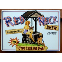 Red Neck Brew Tin Metal Sign Confederate Flag Southern Dixie Beer Alcohol B69