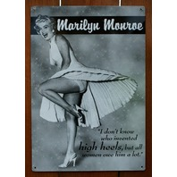 Marilyn Monroe High Heels Tin Metal Sign Pin Up Bar Quotes Humor Comedy F74