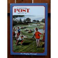 Saturday Evening Post Tin Sign Womens Sports Golf Humor Rockwell B65