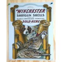 Winchester Shotgun Tin Sign Quail Dog Trap Shoot Ammo Shells Gun Hunting E34
