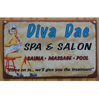 Diva Dae Salon Laundry Bathroom Tin Metal Sign Pin Up Girl Sauna Pool Day Spa