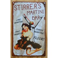 Stirrers Martini Bar Tin Sign Pin Up Girl Home Bar Sign Drink Glass Brunette