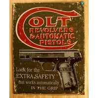 Colt Revolvers & Automatic Pistols Cartridges Tin Sign Guns .44 .38 Ammo E4