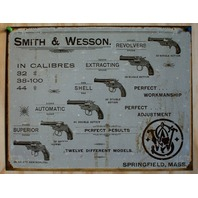Smith & Wesson Tin Sign Pistol Revolver Gun Rifle Fire Arm Cowboy Western