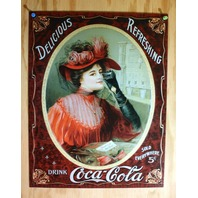 Coca Cola Victorian Red Dress Tin Sign Soda Bottle Pop Woman Coke Gothic B102