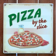 Pizza By The Slice Tin Metal Sign Pizzeria Restaurant Kitchen Cooking Food D68